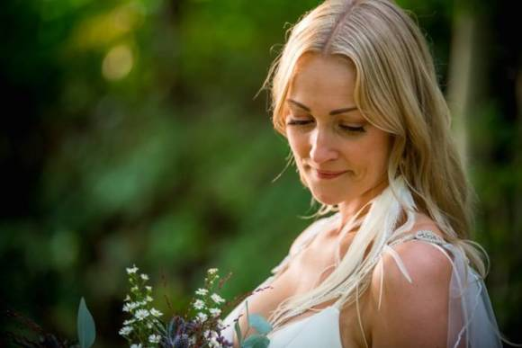 Wedding Photographer Yeovil bride with flowers