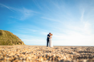 Wedding photograph at westbay on the beach