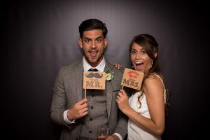 bride and groom photobooth