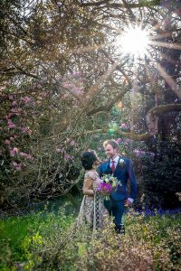 Bride and groom Minterne gardens wedding