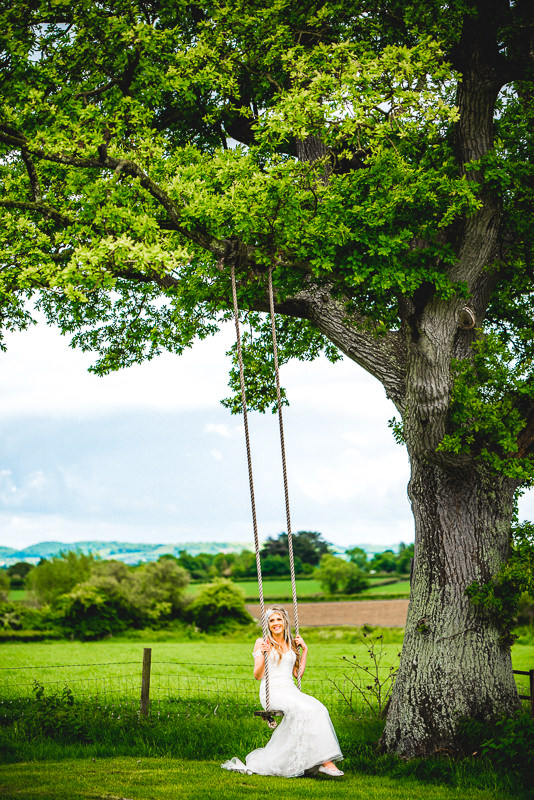 Tree Swing at a Wedding at Old Oak Farm, Curry Rivel, Langport, Somerset.