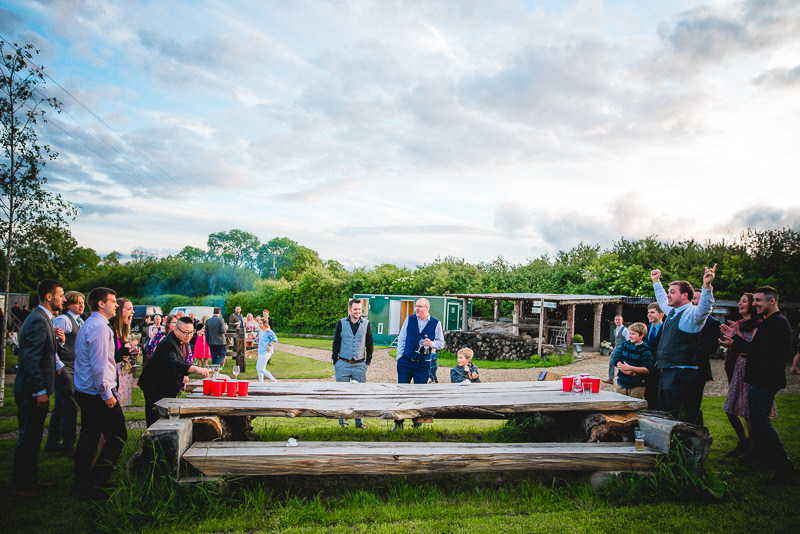 Beer Pong at a Wedding at Old Oak Farm, Curry Rivel, Langport, Somerset.