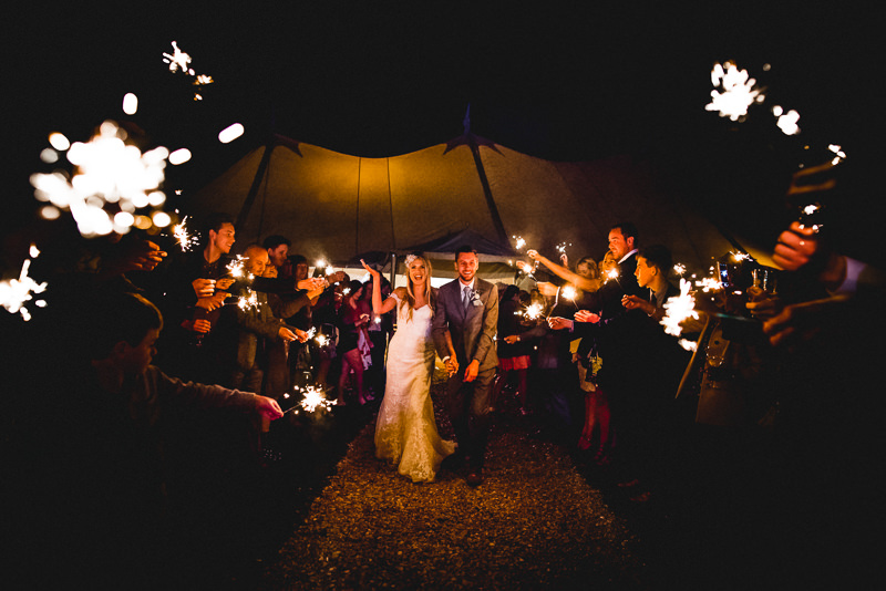 Wedding Sparklers at Old Oak Farm, Curry Rivel, Langport, Somerset.