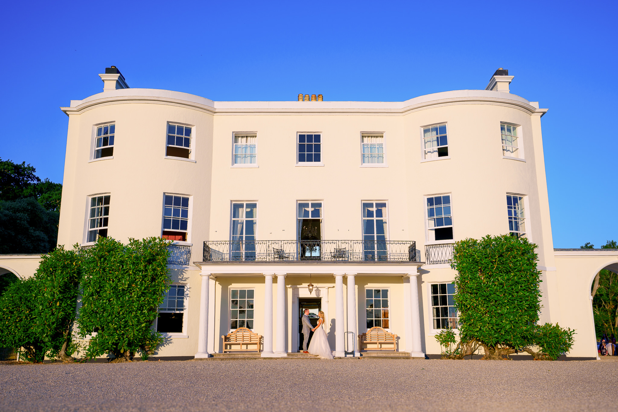 The Beautiful bride and groom at the Wedding venue Rockbeare Manor in Exeter Devon by Somerset wedding photographer Spencer White Photography