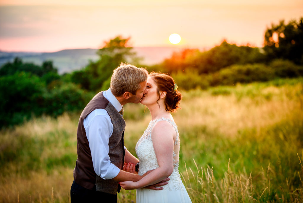 The Bride and Groom during sunset at River Cottage HQ Headquarters in Devon