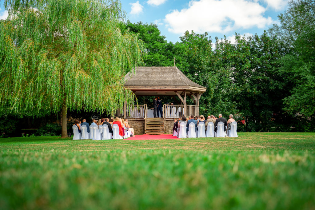 The outdoor ceremony option at Haselbury Mill, Crewkerne.