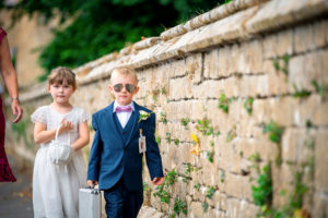 Flower girl and page boy on a wedding day at Merriott Church