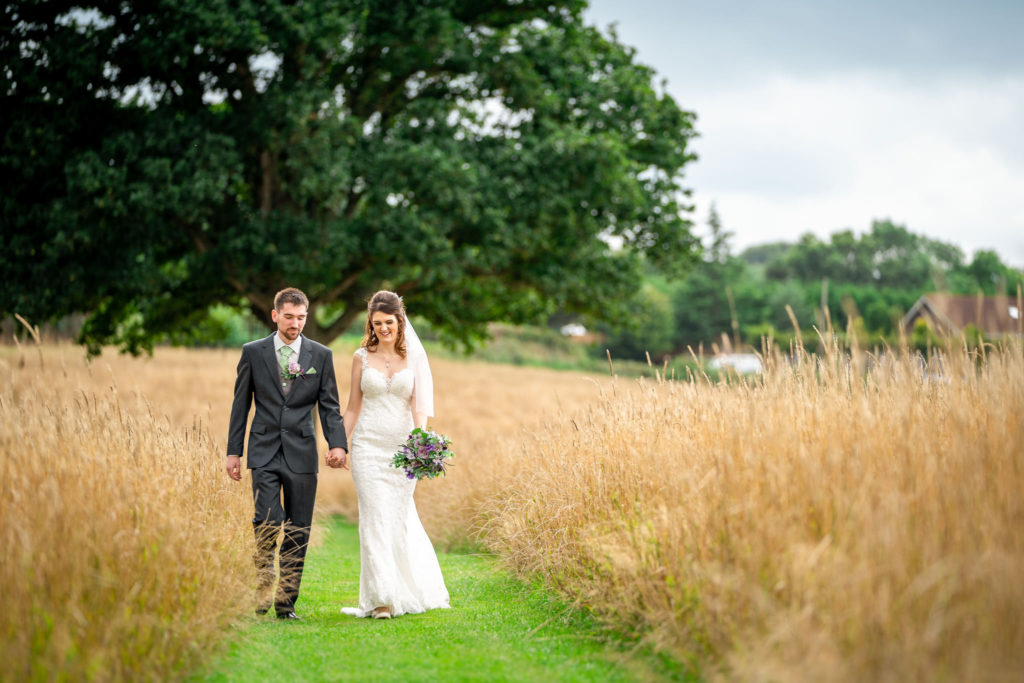 A bride and groom on their wedding day at Quantock Lakes in Somerset.