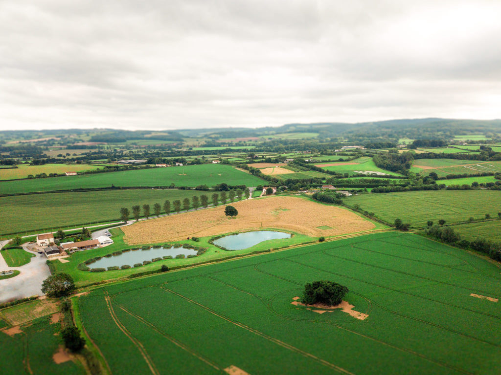 Quantock Lakes Wedding venue photograph from a drone