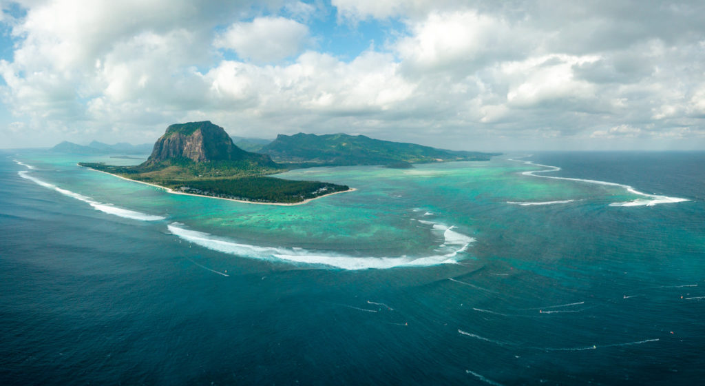 A photography of Le Morne taken by drone, includes the under water waterfall. Mauritius, East Africa, Indian Ocean. 2018