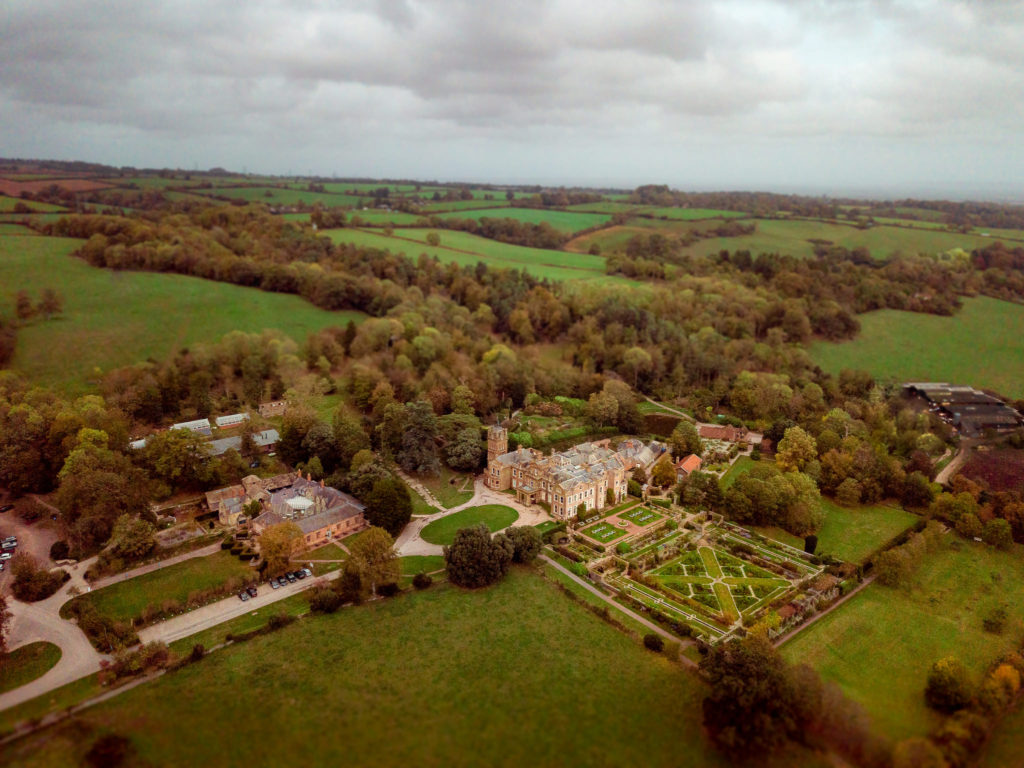 Wedding venue Hestercombe House and Gardens photograph from a drone the venue is near Taunton in Somerset.