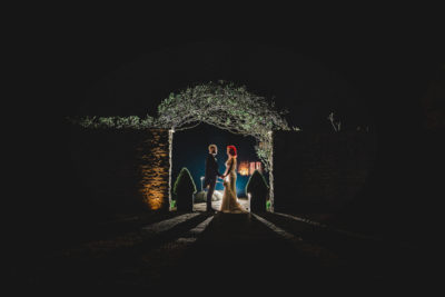 Night portrait of a Bride and Groom on their wedding day at Priston Mill in Somerset